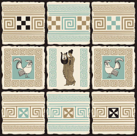 Ancient Greek banner in the form of a set of stone, clay or ceramic tiles. Vector illustrations with Greek ornaments, roosters and an ancient Greek musician with a lyre