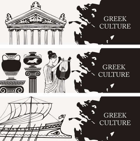 Set of three travel banners on the theme of Ancient Greece with pencil drawings of Greek attractions. Vector black and white illustrations with the inscription Greek culture. 向量圖像