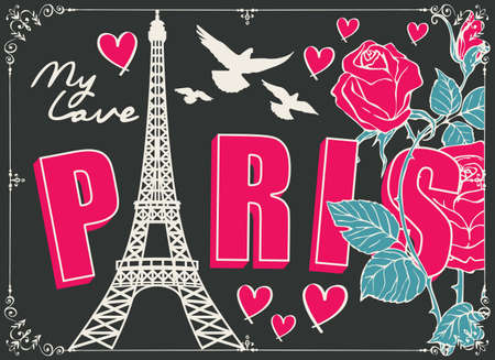 French postcard or banner with the famous Eiffel Tower, pink roses, hearts and pigeons on the black background in retro style. Cartoon vector illustration with words Paris my love
