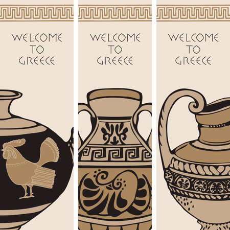 Set of three travel banners on the theme of Ancient Greece with hand-drawn Greek antique amphorae. Vector illustrations with greek ornament, sketches and inscriptions Welcome to Greece