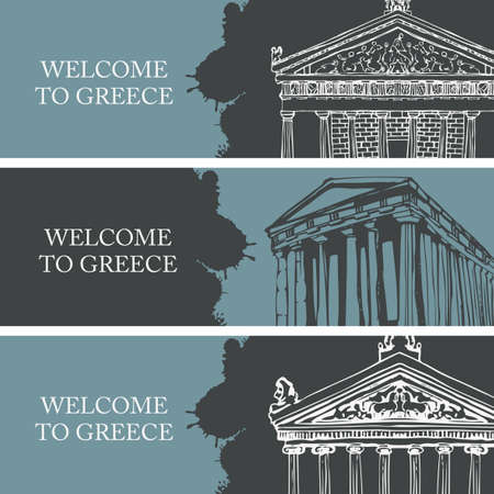 Set of three travel banners on the theme of Ancient Greece with hand-drawn Greek attractions. Creative vector illustrations with the inscription Welcome to Greece. 矢量图像