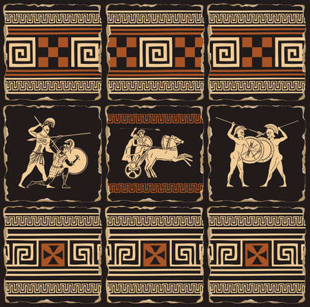 Decorative banner on a theme of Ancient Greece in form of a set of stone, clay or ceramic tiles. Vector illustrations with Greek ornaments and ancient Greek soldiers with shields, spears, in a chariot