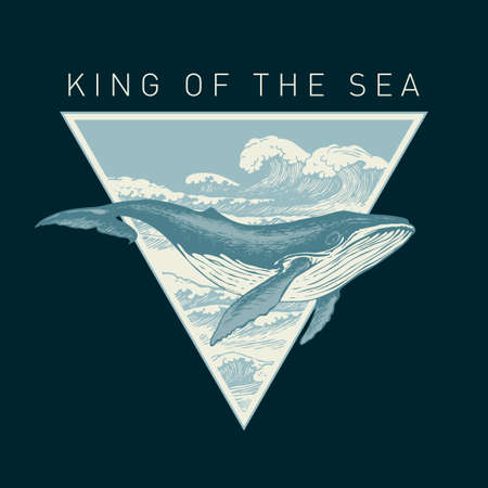 Hand-drawn illustration of a big whale and a triangle with sea waves on a black background in retro style. Vector banner on the theme of adventure, travel and discovery with the words King of the sea 向量圖像