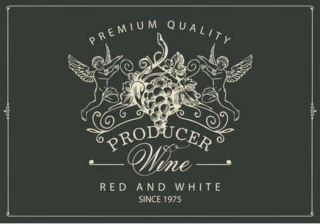 Wine label with a bunch of grapes, angels and inscriptions in retro style. Vector hand-drawn label on the black background for red and white wine