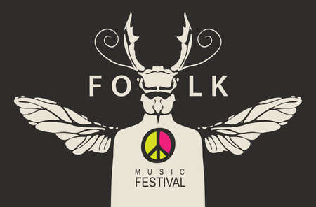 Poster of the folk music festival with a mysterious person with a beetle head and wings. Creative vector illustration suitable for banner, flyer, invitation, cover. Music collection