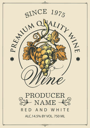 Wine label with a Golden bunch of grapes and a calligraphic inscription on a light background. Vector label for red and white grape wine in retro style
