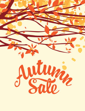 Autumn banner with inscription Autumn sale. Vector landscape with autumn leaves on the branches of trees in a Park or forest. Suitable for flyer, banner, poster, price tag