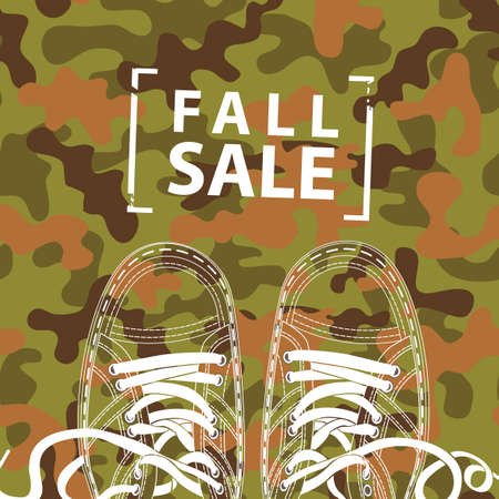 Autumn banner the words Fall sale and shoes on the background of military camouflage colors. Vector decorative illustration in flat style. Suitable for flyer, banner, poster, price tag 向量圖像