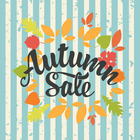 Autumn sale banner with the inscription and colorful autumn leaves on the striped grunge background in retro style. Vector decorative illustration. Suitable for flyer, banner, poster, price tag