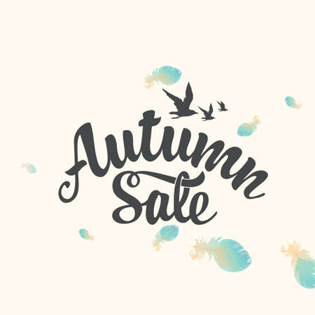Autumn sale banner with the inscription on a light background with feathers. Vector decorative illustration. Suitable for flyer, banner, poster, price tag, label