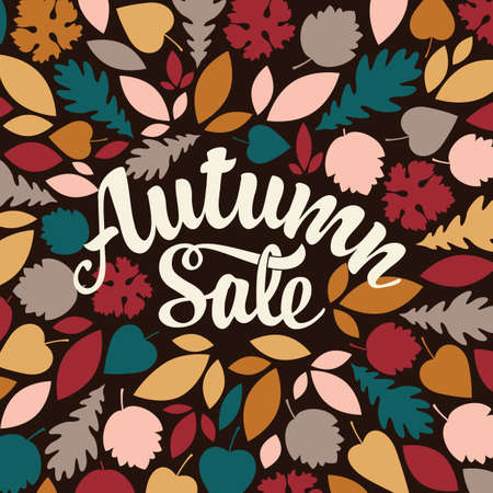 Autumn sale banner with calligraphic lettering and colorful autumn leaves on the black background. Vector decorative illustration in flat style. Suitable for flyer, banner, poster, price tag, label