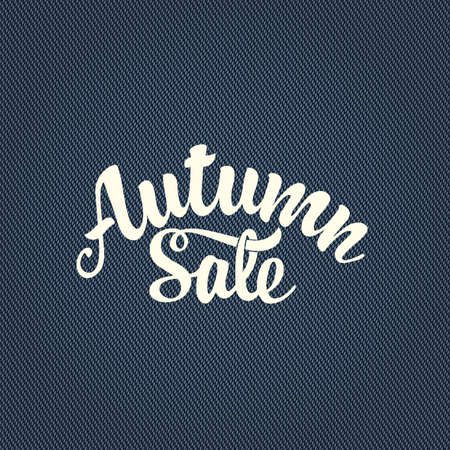 Autumn sale banner with calligraphic lettering on the blue denim background. Vector decorative illustration. Suitable for flyer, banner, poster, price tag, label 向量圖像