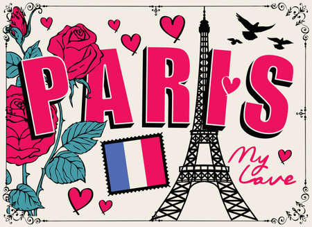 French postcard or banner with the famous Eiffel Tower, roses, hearts, pigeons and french flag. Flat vector illustration in cartoon style with words Paris my love Illustration