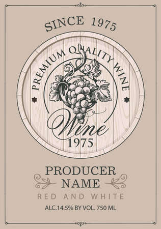 Wine label with a hand-drawn bunch of grapes on a wooden cask in retro style. Ornate vector label for red and white wine on a beige background  イラスト・ベクター素材
