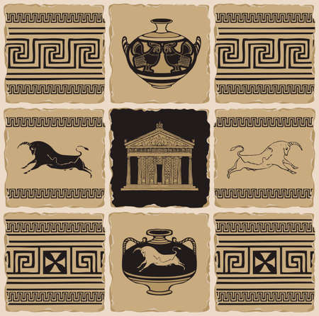 Ancient Greek banner in the form of a set of stone, clay or ceramic tiles. Vector illustrations with Greek ornaments, Cretan bulls, amphorae and the facade of the Parthenon in retro style.