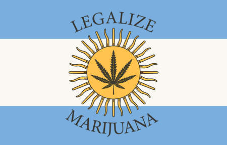 Banner in the form of the Argentine flag with a leaf of hemp. The concept of legalizing marijuana, cannabis in Argentina. Medical legalize cannabis. Drug consumption. Smoking weed