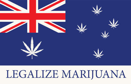 Banner in the form of the Australian flag with hemp leaves. The concept of legalizing marijuana, cannabis in Australia. Medical legalization of cannabis. Drug consumption. Smoking weed
