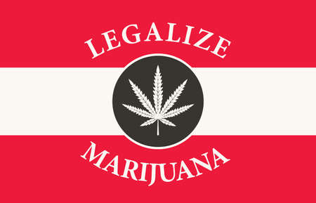 Banner in the form of the Austrian flag with a leaf of hemp. The concept of legalizing marijuana, cannabis in Austria. Medical legalize cannabis. Drug use. Smoking weed 向量圖像