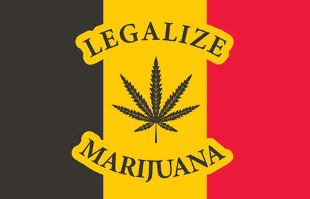 Banner in the form of the Belgian flag with a hemp leaf. The concept of legalizing marijuana, cannabis in Belgium. Medical legalization of cannabis. Drug use. Smoking weed