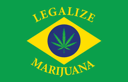 Banner in the form of the Brazilian flag with a hemp leaf. The concept of legalizing marijuana, cannabis in Brazil. Medical legalization of cannabis. Drug use. Smoking weed