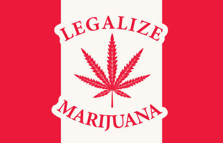 Banner in the form of the red and white Canadian flag with a leaf of hemp. The concept of legalizing marijuana, cannabis in Canada. Drug use and decriminalization. Smoking weed.