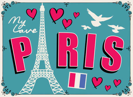 Parisian postcard or banner with a famous Eiffel Tower, french flag, hearts and pigeons on the emerald background. Flat vector illustration with words Paris my love