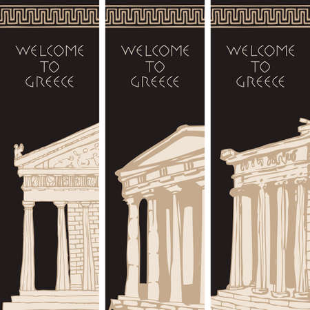 Set of three travel banners on the theme of Ancient Greece with hand-drawn Greek attractions. Creative vector illustrations with greek ornament, sketches and inscriptions Welcome to Greece