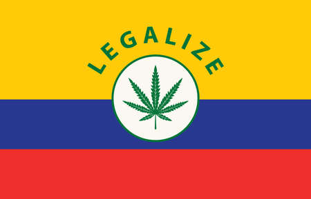 Banner in the form of the Colombian flag with a hemp leaf. The concept of legalizing marijuana, cannabis in Colombia. Legalization and decriminalization of medical cannabis.