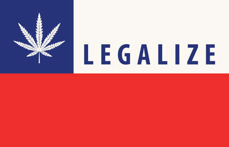 Banner in the form of the Chilean flag with a leaf of hemp. The concept of legalizing marijuana, cannabis in Chile. Medical and recreational legalize cannabis. Drug use. Smoking weed