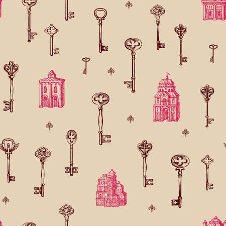 Hand-drawn seamless pattern with vintage keys and old buildings in retro style. Repeatable vector illustrations on a light background. Suitable for wallpaper, wrapping paper, fabric, textile 向量圖像