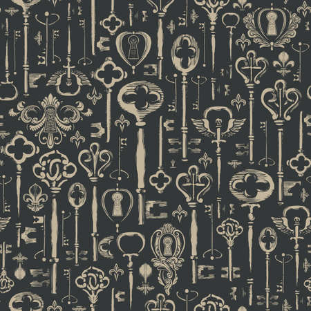 Decorative seamless pattern with vintage hand-drawn keys and keyholes in retro style. Repeatable vector illustrations on the black background. Suitable for wrapping paper, wallpaper, fabric, textile