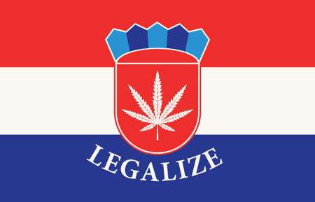 Banner in the form of the Croatian flag with a hemp leaf. The concept of legalizing marijuana, cannabis in Croatia. Medical legalization of cannabis. Drug use. Smoking weed
