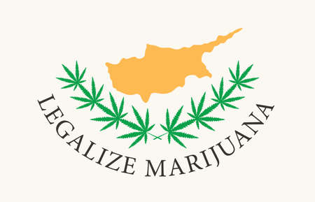 Banner in the form of the Cyprus flag with hemp leaves. The concept of legalizing marijuana, cannabis in Cyprus. Legalization of cannabis for medical use only. Smoking weed