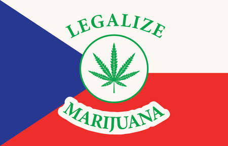 Banner in the form of the Czech flag with a hemp leaf. The concept of legalizing marijuana, cannabis in Czech Republic. Medical legalization of cannabis. Drug use. Smoking weed 矢量图像