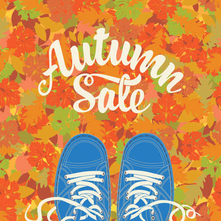 Autumn sale banner with the inscription and blue shoes on the background of colorful autumn leaves. Vector decorative illustration in flat style. Suitable for flyer, banner, poster, price tag 向量圖像