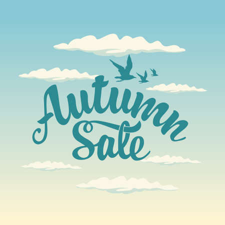 Autumn sale banner with the inscription on background of blue sky with clouds and migratory birds. Vector decorative illustration. Suitable for flyer, banner, poster, price tag, label