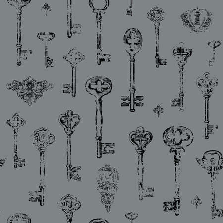Hand-drawn seamless pattern with vintage keys and keyholes in the grunge style. Vector illustration with black threadbare drawings on a gray background. Suitable for Wallpaper, wrapping paper, fabric 向量圖像