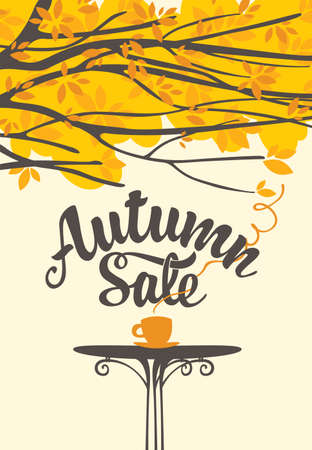 Autumn banner with inscription Autumn sale. Vector illustration in flat style with a cup of hot tea or coffee on the table under the autumn yellowed tree. Suitable for flyer, banner, poster, price tag 向量圖像