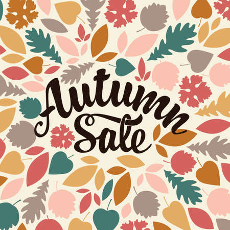 Autumn sale banner with the calligraphic inscription on background of colorful autumn leaves. Vector illustration in flat style. Suitable for flyer, banner, poster, price tag, label