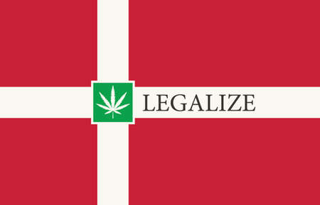 Banner in the form of the Danish flag with a hemp leaf. The concept of legalizing marijuana, cannabis in Denmark. Medical legalization of cannabis. Drug use. Smoking weed
