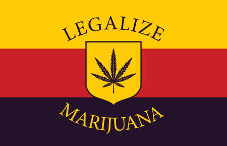 Banner in the form of the German flag with a hemp leaf. The concept of legalizing marijuana, cannabis in Germany. Medical legalization of cannabis. Drug use. Smoking weed