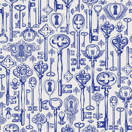 Decorative seamless pattern with vintage hand-drawn keys and keyholes in retro style. Repeatable vector illustrations on a light background. Suitable for wallpaper, wrapping paper, fabric, textile 向量圖像