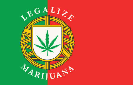 Banner in the form of the Portuguese flag with a hemp leaf. The concept of legalizing marijuana, cannabis in Portugal. Legalization and decriminalization of cannabis.