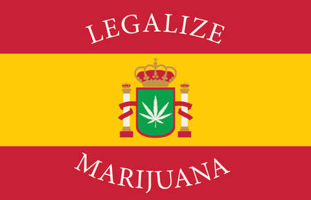 Banner in the form of the Spanish flag with a hemp leaf. The concept of legalizing marijuana, legalize cannabis in Spain. Drug use and decriminalization. Smoking weed