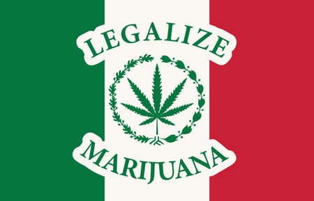Banner in the form of the Mexican flag with a hemp leaf. The concept of legalizing marijuana, legalize cannabis in Mexico. Drug use and decriminalization. Smoking weed