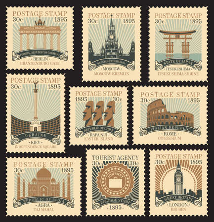Set of postage stamps on the theme of travel with architectural and historical attractions from various countries. Vector illustrations of famous places in the form of old stamps in retro style