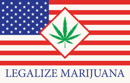 Banner in the form of the American flag with a leaf of hemp. The concept of legalizing marijuana, cannabis in USA. Drug use and decriminalization. Smoking weed.