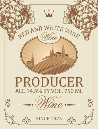 Wine label with a rural landscape of a European village and vineyards, decorated with hand-drawn grapes and inscriptions. Vector label in retro style on an old paper background in a frame with curls