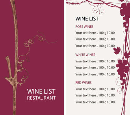 Wine list for restaurant or cafe. Vector illustration with a grapevine, bunches of grapes and a price list in retro style