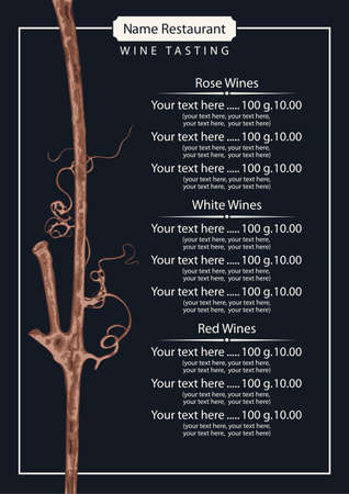 Wine list or testing for a restaurant or cafe. Vector illustration with a dry vine branch and a price list in retro style on an old paper background